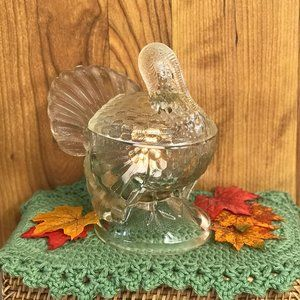 Vintage Glass Turkey Candy Dish